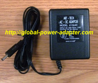 NEW Art-Tech 120v 60Hz 7.2W 6V 400mA AC-DC for AC-DC Adapter 410640 Power Supply -READ