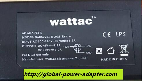 NEW WATTAC BA0572ZI-8-A02 AC ADAPTER 4 PIN 5V 4.2A 12V 3.0A POWER SUPPLY
