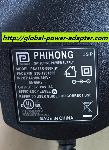 NEW PHIHONG PSA15R-060P P/N:236-1201800 6V 3A ADAPTER POWER SUPPLY 5.5 X 2.1mm