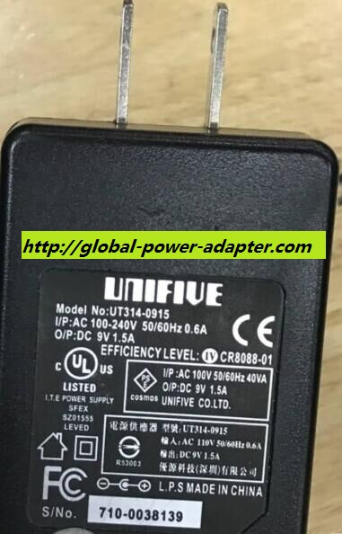 NEW UNIFIVE UT314-0915 AC ADAPTER 9V 1.5A ADAPTER POWER SUPPLY 5.5 X 2.1mm