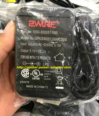 NEW 2WIRE GPUSW0512000CD0S AC ADAPTER 5.1VDC 2A Desktop SWITCHING POWERT AC DC ADAPTER SUPPLY!