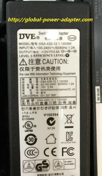 NEW DVE DSA-42D-12 1 120350 12V 3.5A AC ADAPTER POWER SUPPLY