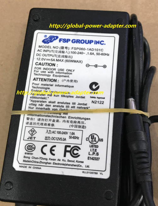 NEW FSP FSP060-1AD101C 12.0V 5A MAX AC ADAPTER 5.5 X 2.1mm POWER SUPPLY